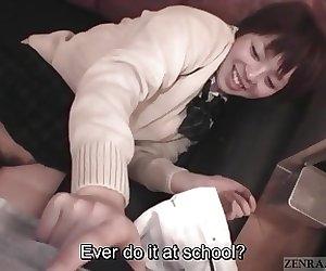 Subtitled masturbating petite and curvy Japanese schoolgirl