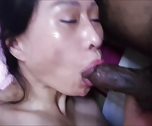 Asian horny milf mahkyo sucking black cock