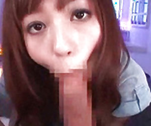 Intelligent japanese cock sucker is swallowing big cock