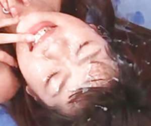 Sweet Asian teen receives juicy cumshot for her lovely face