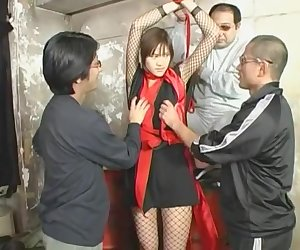 Amazing Japanese girl Azusa Ayano in Crazy Fishnet, Gangbang JAV video