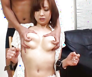 She moans hard while horny male penetrates her tight pussy